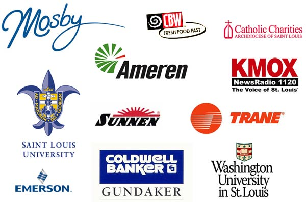 Our clients - Mosby Building Arts, Crazy Bowls and Wraps, Ameren, KMOX, Saint Louis University, Sunnen, TRANE, Coldwell Banker Gundaker, Emerson