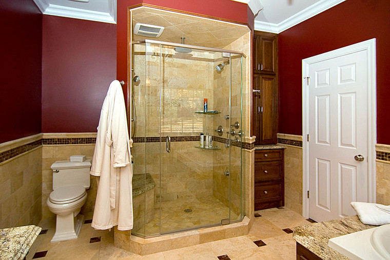 Creve Couer, MO | Angelica Marble Tile with glass boarder and inserts for Master Bathroom *