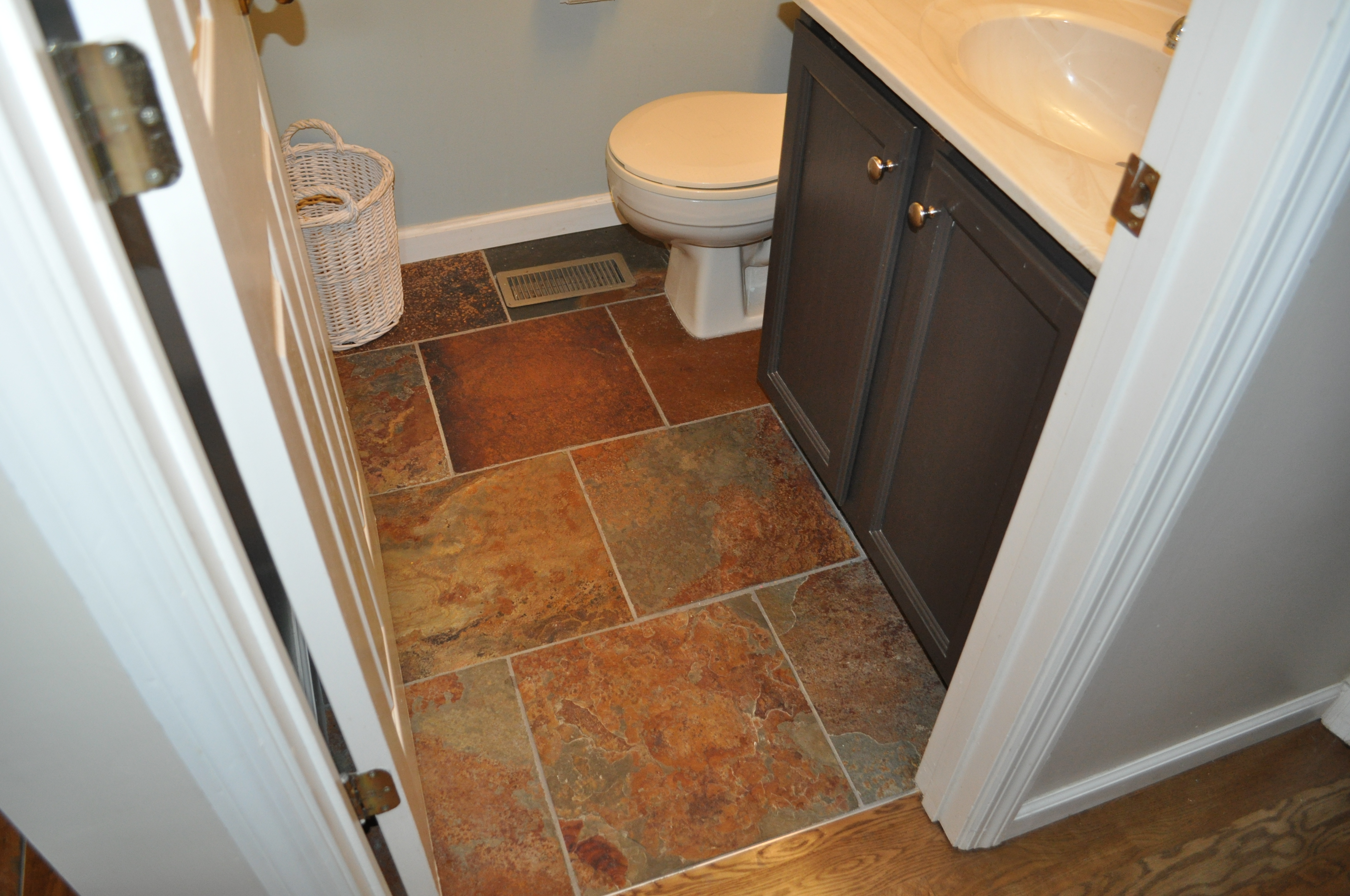"16"" Slate in bathroom ~ flush height with 3/4"" hardwood flooring"