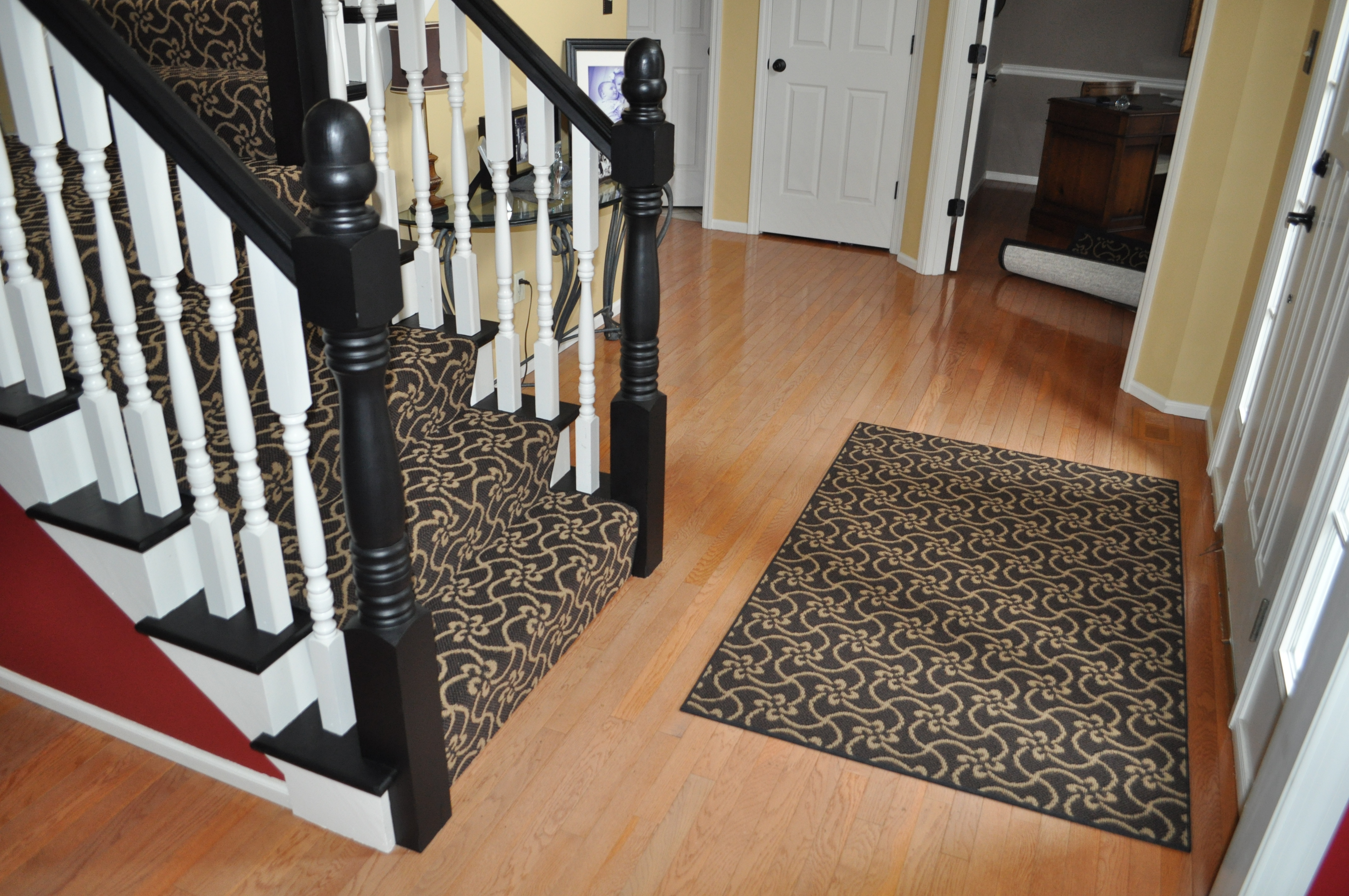 Carpeting runner on stairs with matching area rug ~ Chesterfield, MO